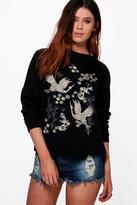 boohoo Tall Katya Oriental Front Print Sweatshirt black