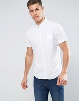 Hollister Oxford Shirt Short Sleeve Stretch Slim Fit In White