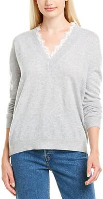 Minnie Rose Lace-Trim Cashmere Sweater
