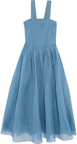 Tibi Isa pleated silk-organza midi dress
