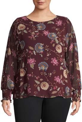 Vince Camuto Plus Floral-Print Long-Sleeve Blouse