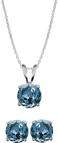 Blue Topaz & Sterling Silver Pendant Necklace & Stud Earrings