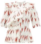 Charles Jeffrey Loverboy Heart-print Ruffle-trim Silk Blouse - Womens - Red White
