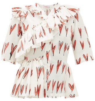 Charles Jeffrey Loverboy Heart-print Ruffle-trim Silk Blouse - Womens - Red White