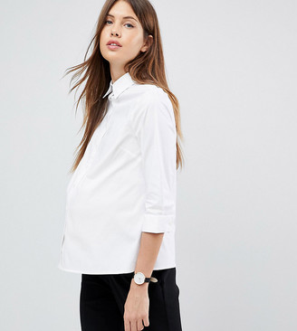 Asos DESIGN Maternity 3/4 sleeve shirt in stretch cotton-White