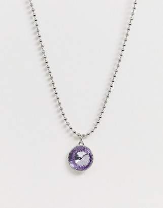 Asos Design DESIGN necklace with crystal gem pendant and ball chain in silver tone