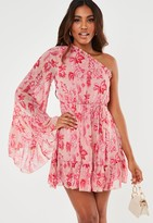 Missguided Pink Flared One Sleeve Ruffle Dress