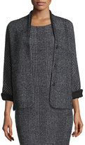 Escada Eve Check Bracelet-Sleeve Jacket, Black