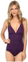 Tommy Bahama Pearl Over-the-Shoulder V-Neck One-Piece Swimsuit