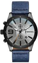 Diesel Men's Rasp Chrono 46 Gunmetal IP and Denim Leather Chronograph Watch, 46mm x 54mm