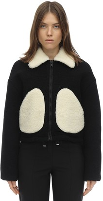 Courreges Short Faux Shearling & Wool Jacket