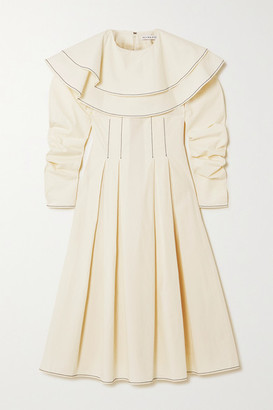 REJINA PYO Faye Ruffled Pleated Cotton Midi Dress - Off-white