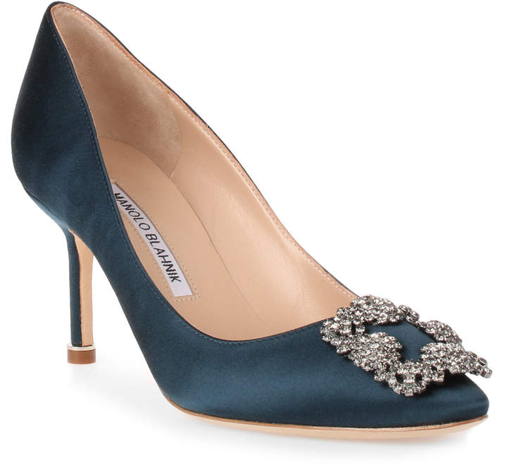 Manolo Blahnik Hangisi 70 teal satin pump