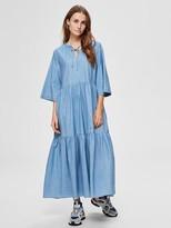 Selected Joy Ruffled Maxi Dress In Light Blue - 34