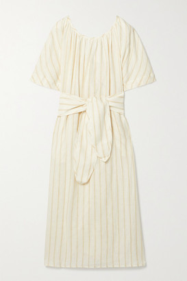 Mara Hoffman Aliz Belted Striped Linen And Tencel Lyocell-blend Midi Dress - Ecru