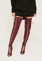 Missguided Burgundy Lace Up Thigh High Gladiator Boots
