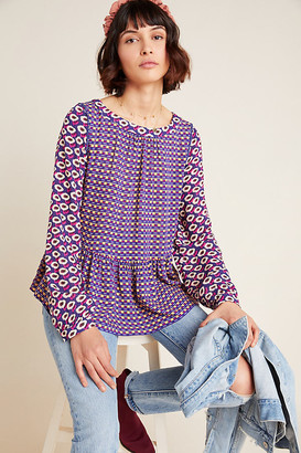 Maeve Cheyenne Peplum Blouse By in Blue Size XS