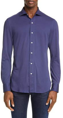 Boglioli Trim Fit Knit Button-Up Shirt
