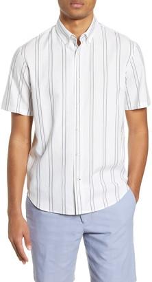 Club Monaco Slim Fit Deck Stripe Short Sleeve Button-Down Shirt