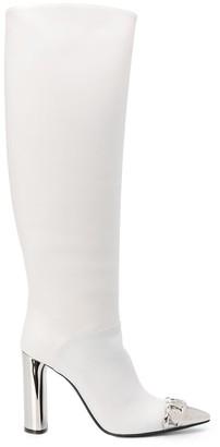 Casadei Metallic Toe Knee-High Boots