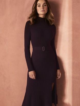 Forever New Stephanie Rib Midi Knit Dress - Plum Muse - 12