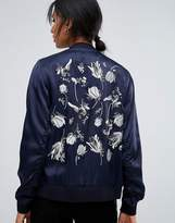 Just Female Panther Embroidered Back Bomber