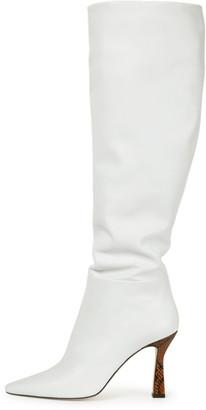 Wandler Lina Long Boot in White/Python Tan