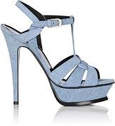Saint Laurent Women's Tribute Denim Platform Sandals-BLUE