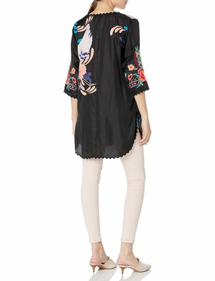Johnny Was Women's Long Sleeve Printed Silk Blouse