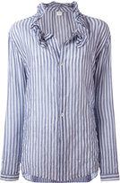 Y's striped frill collar blouse - women - Cotton/Polyurethane/Tencel - 1