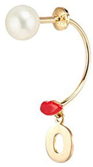 Delfina Delettrez 'ABC Micro Lips Piercing' freshwater pearl 18k yellow gold single earring - O