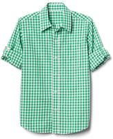 Gingham poplin convertible shirt