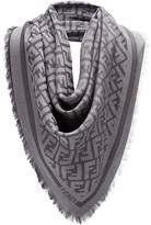 Fendi fringed logo scarf