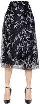 Rochas Swallows Printed Silk Organza Skirt