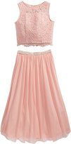 Sequin Hearts 2-Pc. Lace Charmeuse Maxi Dress Set, Big Girls (7-16)