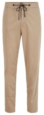 HUGO BOSS Tapered Fit Drawstring Pants In Stretch Cotton Twill - Dark Blue