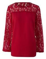 Red Lace Blouse - ShopStyle