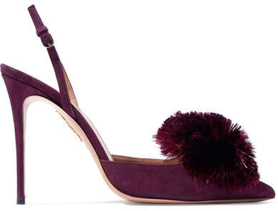 Aquazzura Powder Puff Pompom-embellished Suede Slingback Pumps - Plum