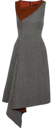 Oscar de la Renta Asymmetric Herringbone Wool And Cashmere-blend Dress