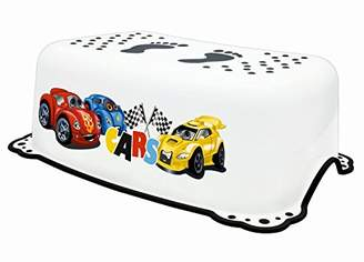 """Camilla And Marc BIECO 11106951 - White Kids Step Stool, with Cars Motif""""Formula Race"""" and Anti-Slip Function, Single-Stage, Step Height 14 cm, from 12 Months to About 10 Years"""