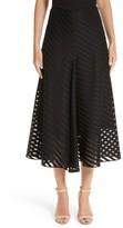 Akris Women's Diagonal Stripe Cotton Voile Midi Skirt