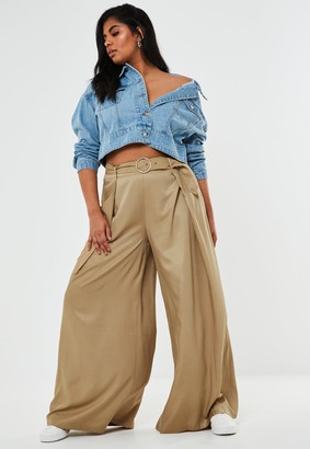 Missguided Plus Size Stone Pleat Belted Wide Leg Trousers