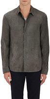 John Varvatos Men's Suede Shirt Jacket-GREY