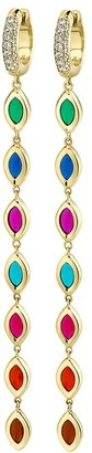 Andy Lif 18kt Yellow Gold 7 Colour Enamel Shoulder Duster Diamond Huggie Drop Earrings