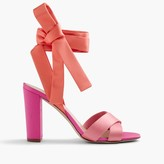 J.Crew Satin colorblock sandals with ankle wraps