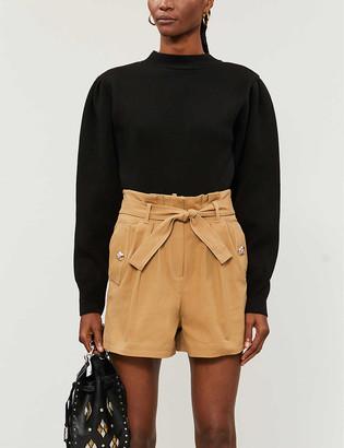 Maje High-rise stretch-cotton shorts