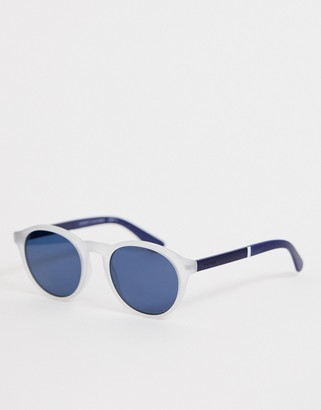 Tommy Hilfiger round sunglasses in white and navy