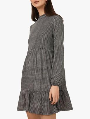 Warehouse Gingham Tiered Dress, Black/White