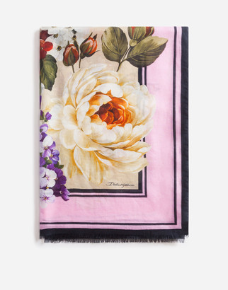 Dolce & Gabbana FLORAL BEIGE PRINT SCARF IN MODAL AND CASHMERE 135 X 200CM- 53 x 78 INCHES