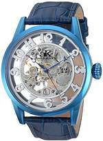 Adee Kaye Men's 'Glass Collection' Mechanical Hand Wind Stainless Steel and Leather Casual Watch